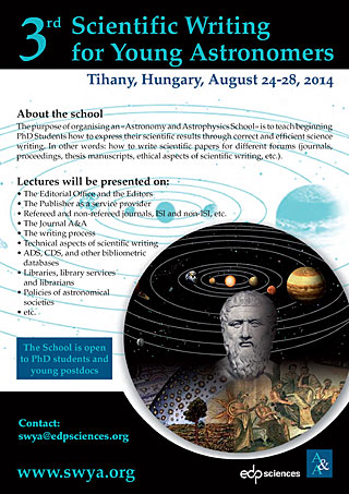 Poster of the event 3rd Scientific Writing for Young Astronomers