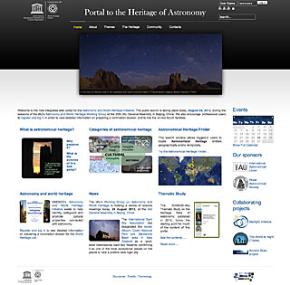 Screenshot of the new Portal to the Heritage of Astronomy