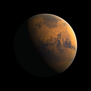 The cratered surface of the planet Mars (artist's impression)
