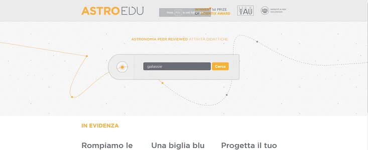Front page of the astroEDU Italian website