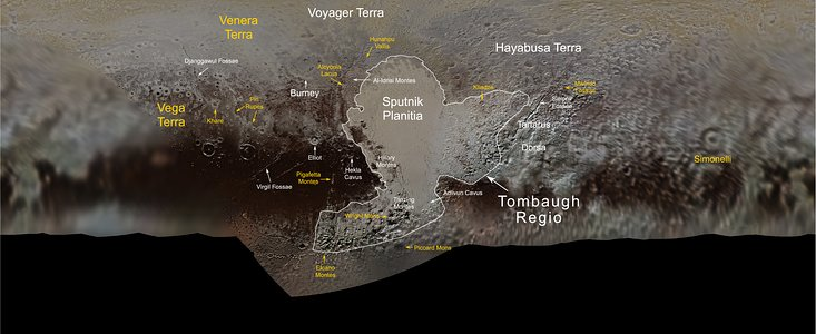 Map of Pluto with new names