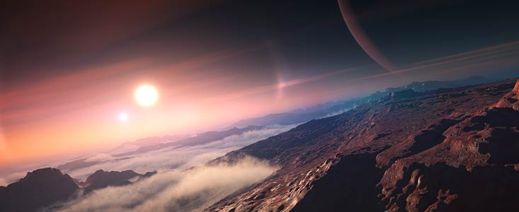 An exoplanet seen from its moon (artist's impression)