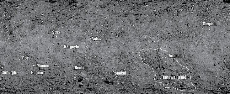 The 12 newly named features on Asteroid Bennu