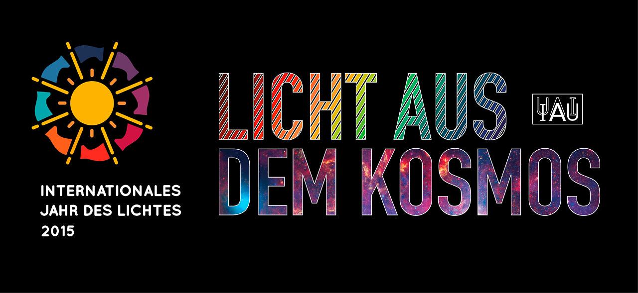 Cosmic Light Logo (color on black background, German)