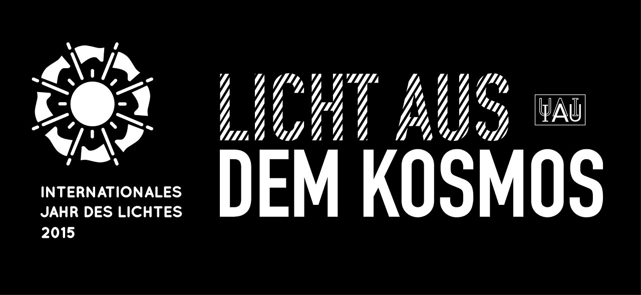 Cosmic Light Logo (white on black background, German)