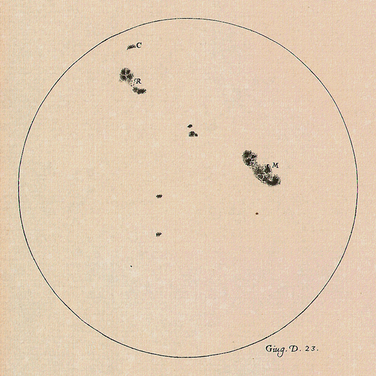 Sunspots recorded by Galileo