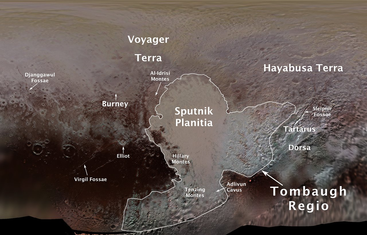 Pluto features named