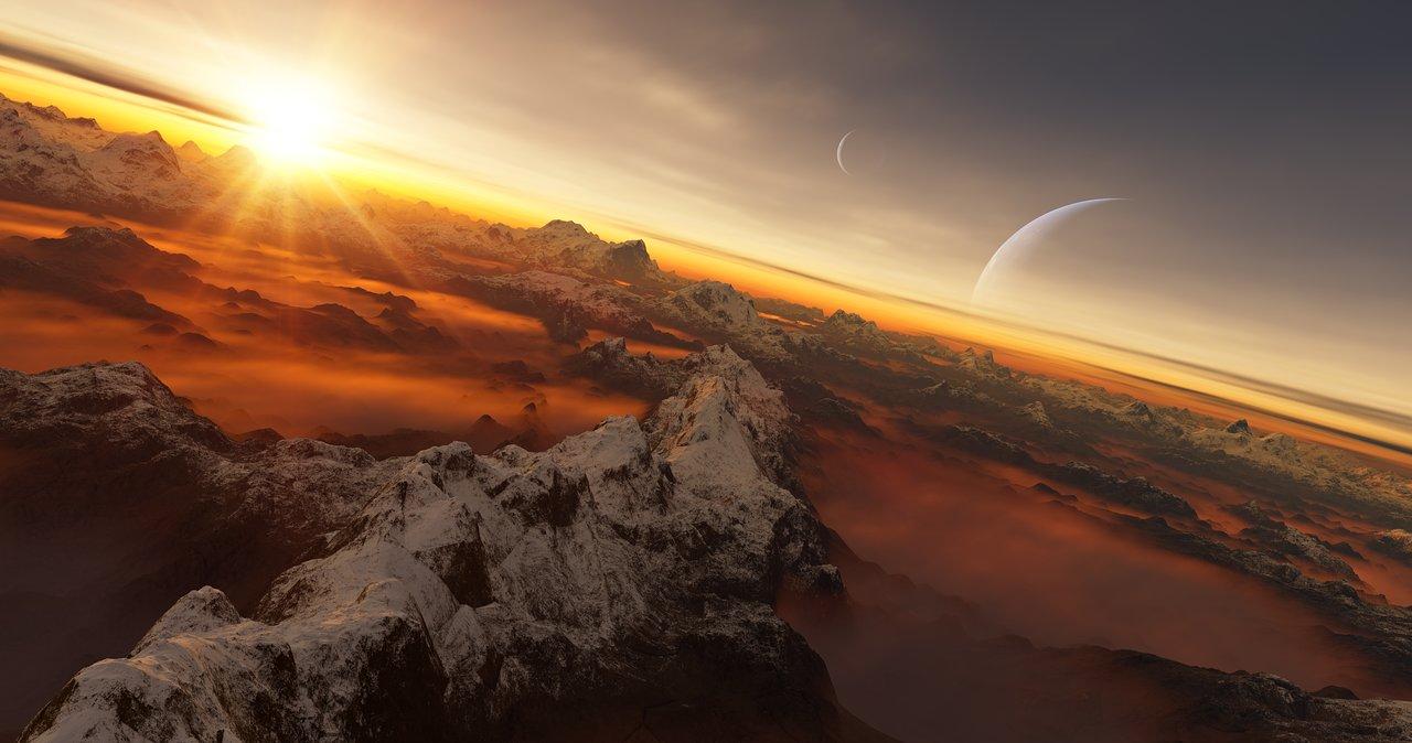 Ilustración de artista de la superficie de un planeta con su estrella anfitriona al fondo. Crédito: IAU/L. Calçada.