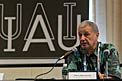 Piero Benvenuti at the first press briefing of the IAU XXIX General Assembly