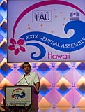 Willy Benz speaking at the IAU XXIX General Assembly